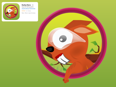 Nutty Hero Game Icon Design icon logo design vector adobe flash adobe animate squirrel graphic design game