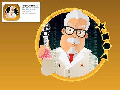 Naughty Blocks Icon Desgin character vector adobe flash adobe animate chemist doctor ios naughty blocks game icon