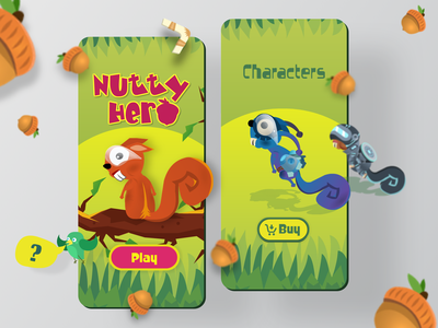Nutty Hero - Home and Characters hero acorn nuts squirrel vector ui game illustration character adobe flash adobe animate