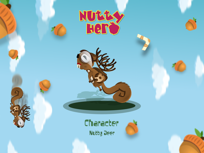 Nutty Deer Character Design design adobe flash adobe animate vector game creative mix deer squirrel character hero nutty