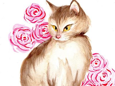 Elegant cat watercolor elegant traditional painting illustration animalillustration cat watercolor