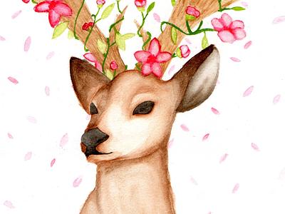Beautiful deer Watercolor magic flowers deer elegant watercolor painting illustration animalillustration