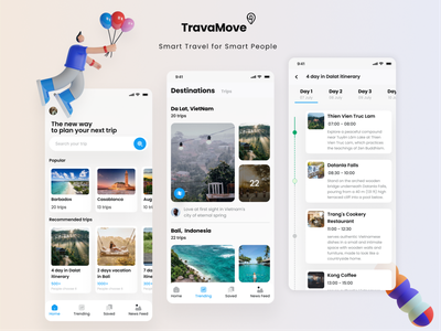 TravaMove - Smart Travel for Smart People trip planner travel planer illustration travel design ui
