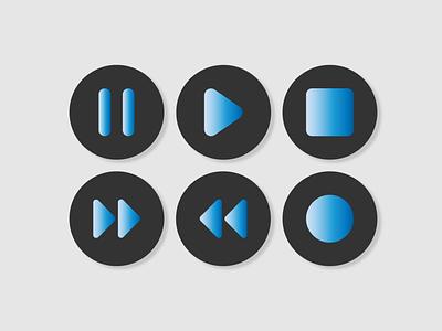 Media Player Icons gradient icon design buttons button ui media player icons minimal ux design vector ui