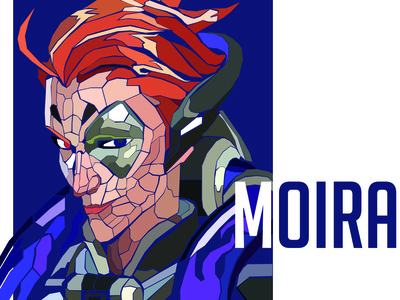 Geometric Moira Portrait overwatch league illustration digital talon reinhardt overwatch illustration game blizzard adobe photoshop adobe illustrator adobe