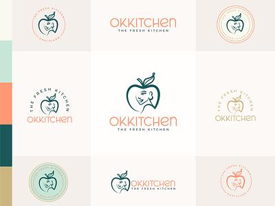 Okkitchen isotype apple woman branding design logo