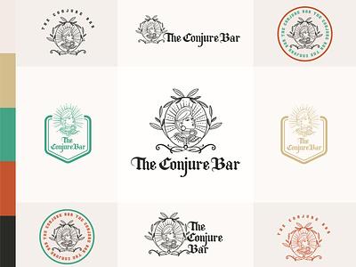 The conjure Bar logotype girl afroamerican lineal illustration woman logo