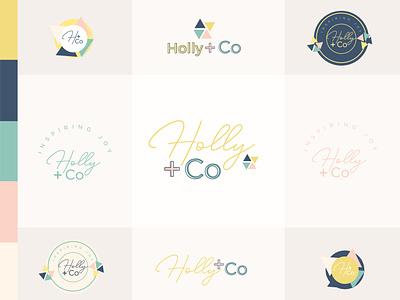Holly + Co vector branding design girlboss woman branding femenine colors logo cute