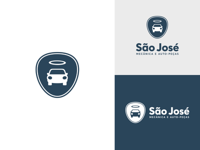 SAO JOSE AUTO MECANICA mechanic logo halo saint repair car auto