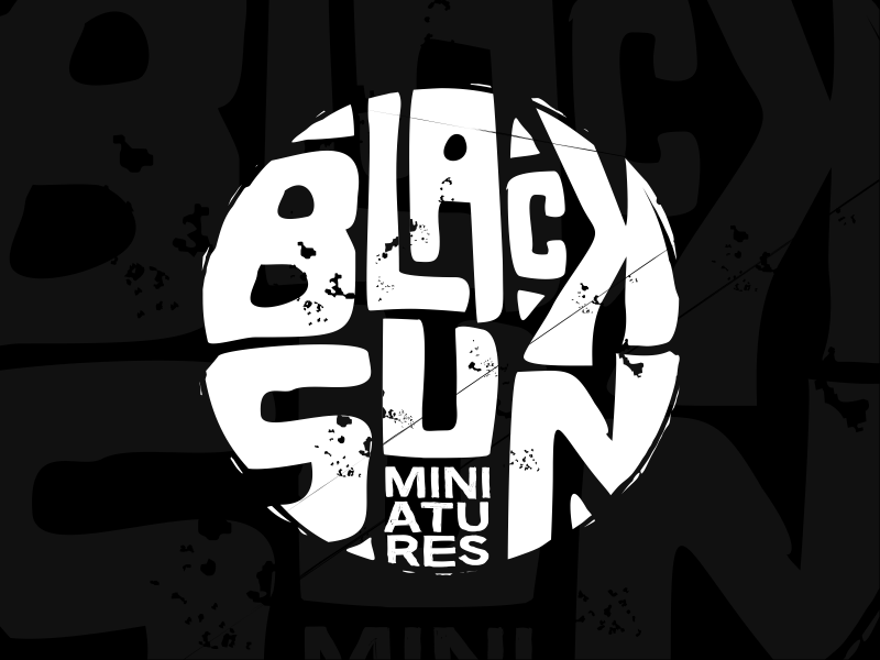 Black Sun Miniatures grunge branding logo desig art miniatures sun black