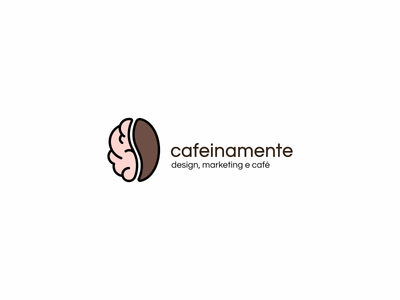 Cafeinamente black brown logo marketing design mente café brain coffee