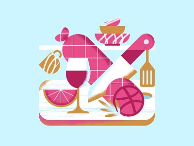 Dribbble Invites wine knive geometric illustration brush kitchenware kitchen vector dribbble dribbble invite