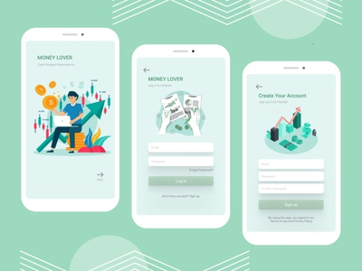 Financial App vector app ux ui illustrator art illustration branding graphic design flat design