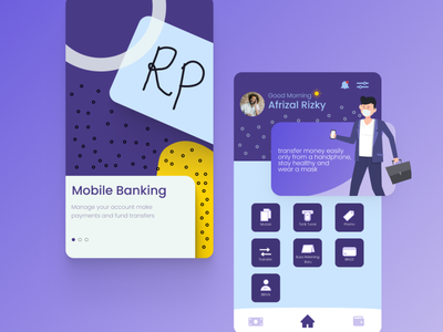 Mobile Banking Application ux vector ui illustrator illustration graphic design flat design art app