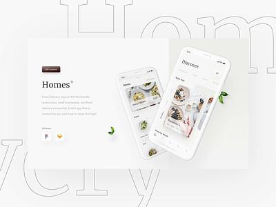 Homes App healthy food app menu delivery app bold digital mobile fresh typography card ios ux ui simple minimal clean food designs app design