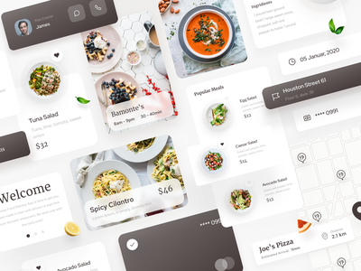Homes Food Delivery UI Kit product delivery fresh healthy art digital minimal typography food menu clean simple ios app design ux ui brand cards home