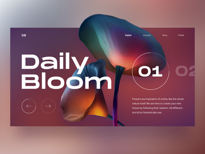 Daily Bloom 01 futuristic blurry colors typography web product gradient intro landing bold visual design playful flower digital clean simple colorful ux ui design
