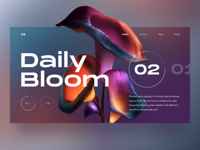 Daily Bloom 02 visual design typogaphy flower simple gradient intro landing colors blurry futuristic web bold product clean colorful playful digital ux ui design