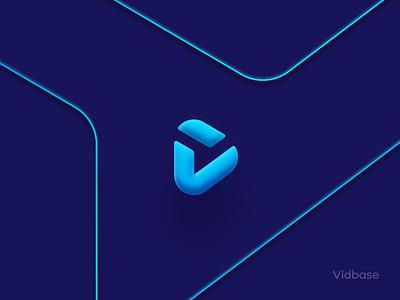 Vidbase effect shadow tool vector product branding mark logo design gradient design bold clean 3d simple icon logo