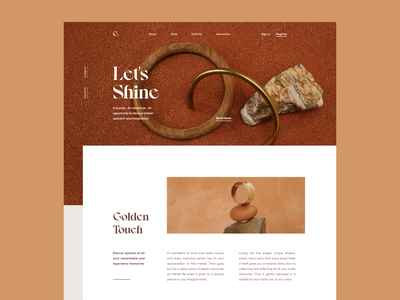 Gold web digital product artdirection visual typography images minimal clean bold brand fashion jewelry layout design ux ui
