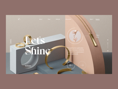 Let's Shine layout jewelry landing branding typography minimal visual artdirection web fashion images clean simple product design bold digital ux ui