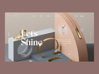 Let's Shine transitions smooth design website landingpage product images artdirection landing jewelry fashion typography digital animation clean simple brand ux ui layout