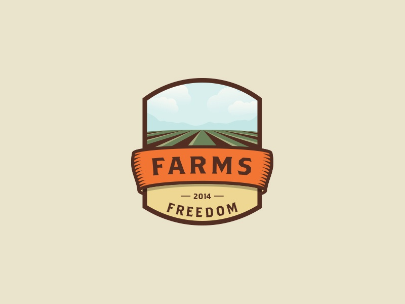 Farms agriculture illustration emblem logo badges farms nature mountains colors vintage retro retro colors