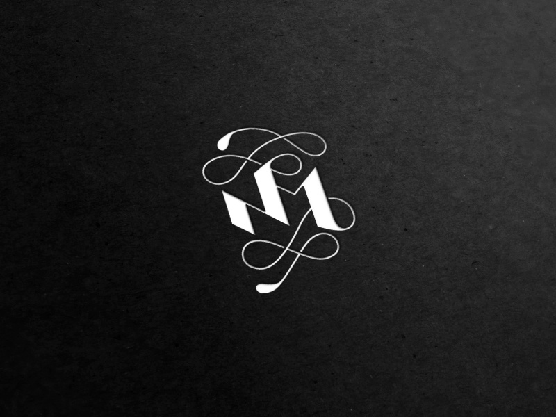 Nm logo calligraphy monogram letter m letter n typography