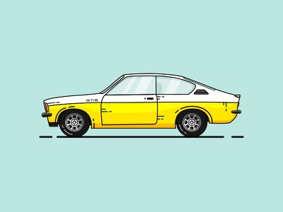 Opel kadett coupe opel icon vintage car logo illustration