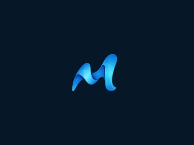 Letter M letter m wavy strip abstract gloss mark shadow gradient icon design logo