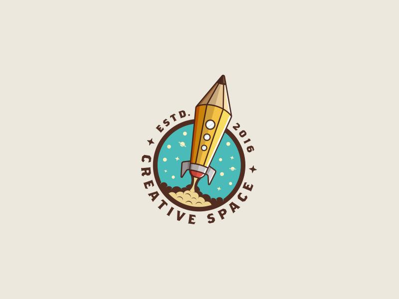 Creative Space stars vintage illustration badge space rocket pencil design logo