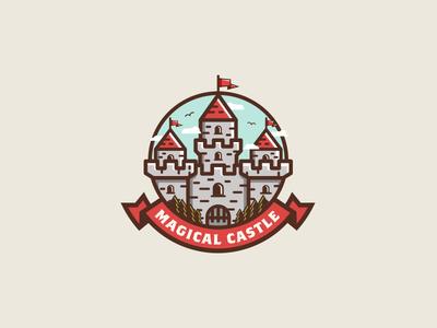 Magical Castle retro vintage icon magical simple castle illustration design emblem badge logo