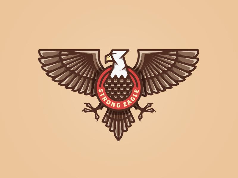 Strong eagle bird retro vintage icon simple eagle illustration design emblem badge logo