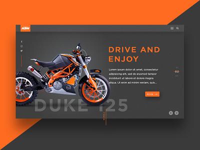 Landing page - KTM Duke 125 dark bike website sport product motorcycle page landing design ui