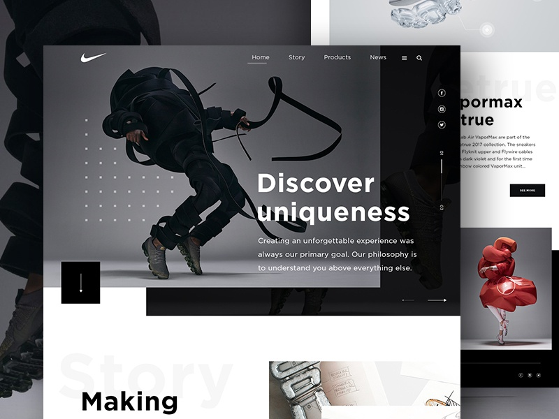 0b808eff8855 Nike VaporMax - Homepage website ultra ui store colors nike modern products  material futuristic flat design