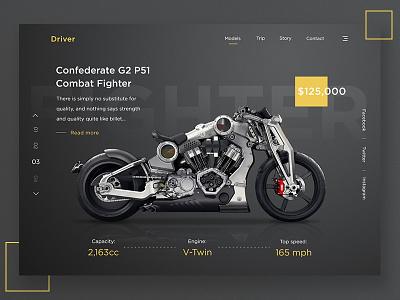 Driver website ux ui sport product page motorcycle landing design dark bike