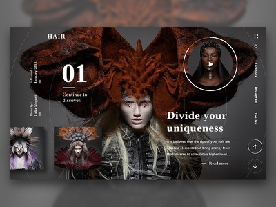 Hair animation website ux ui product photography page landing hair design beauty art