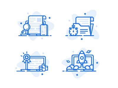 Icon Set icon illustration set web website simple flat clean minimal blue