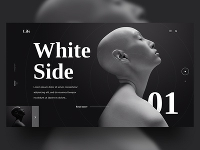 White & Black Side - UI website exploration photography dark art black and white site flow web design typography ui ux gradient simple shadow design