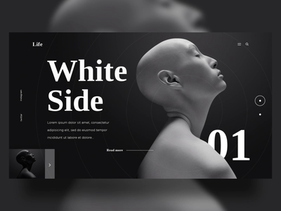White Black Side web design ux ui flow simple shadow photography gradient exploration design dark art black and white