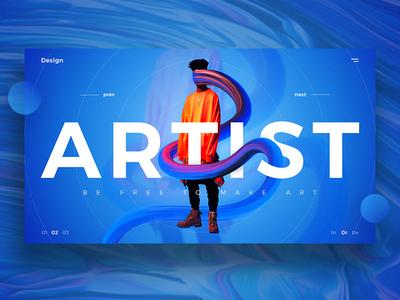 Artist UI landing abstract artist product typography simple gradient exploration web  design ui  ux
