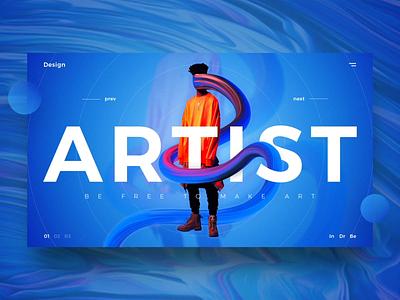 Artist UI web desgin artist simple landing typography ux gradient website ui design abstrack