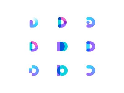 Letters D modern logotype gradient identity shadow design simple mark icon symbol brand logo