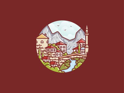 Mostar lines bridge natural retro vintage colorful art flatdesign vector emblem badge city landscape illustration shadow design logo