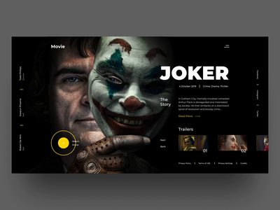 Joker web ux ui typography simple product movie modern landing homepage joker explore experimental design concept clean cinema art