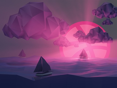 Moonrise 3d lowpoly render animation gif c4d sea moon debut boat clouds moonball