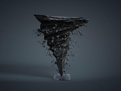 Tornado 3d animation c4d lowpoly gif render tornado storm rotate loop debris