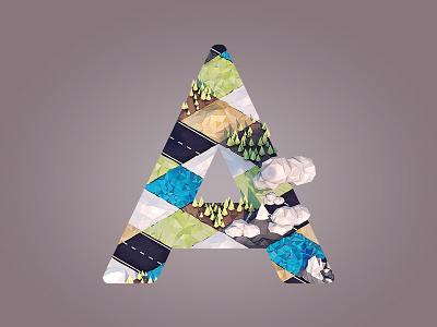 Albedo letter a lowpoly 3d c4d render landscape terrain albedo illustration