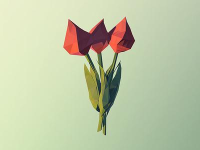 Digital Tulips 3d illustration c4d cinema 4d cgi tulip flower render lowpoly low poly