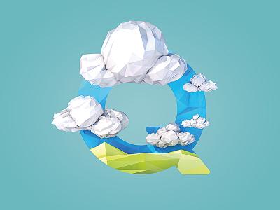 Quellwolke letter illustration cumulus terrain landscape render c4d 3d lowpoly q cloud